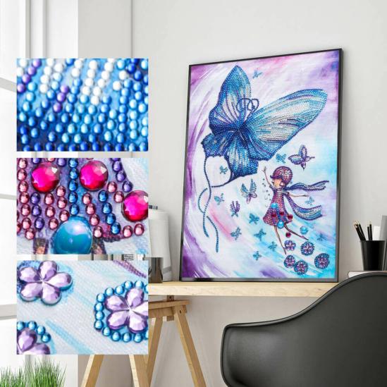 Tündérlány pillangókkal - gyémántszemes kirakó