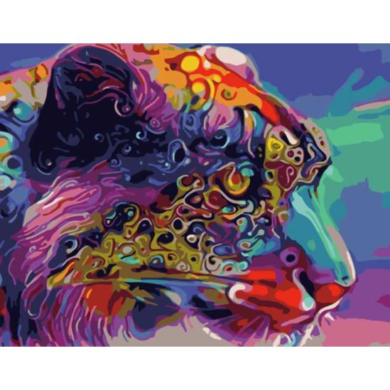 Színes leopárdfej - számfestő készlet