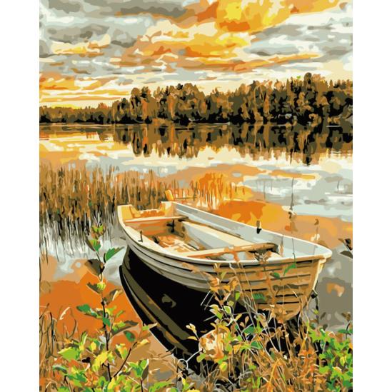 Csónak a vízparton - számfestő készlet
