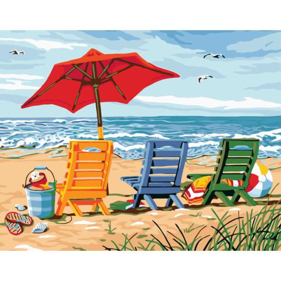 Napágyak tengerparton - számfestő készlet
