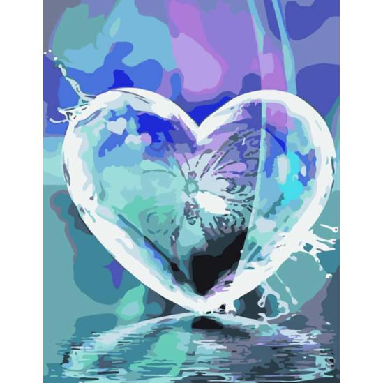 Tükröződő szív - számfestő készlet