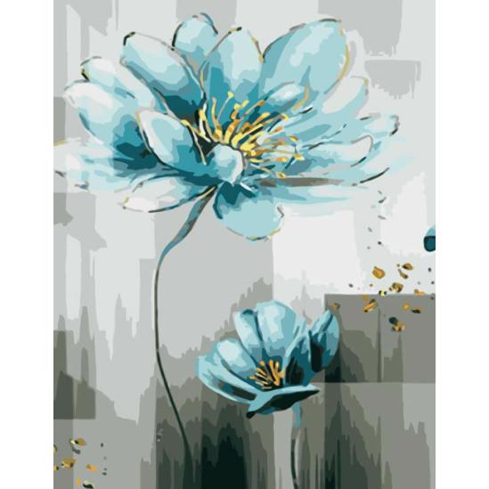 Kék virágok - számfestő készlet