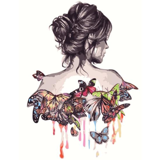 Nő pillangókkal - számfestő készlet