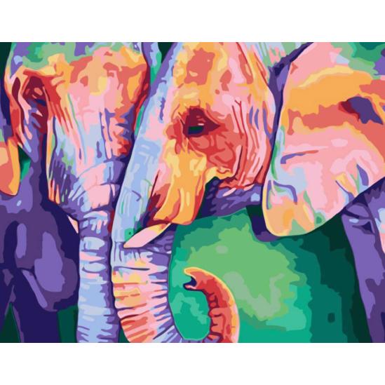 Színes elefántok - számfestő készlet