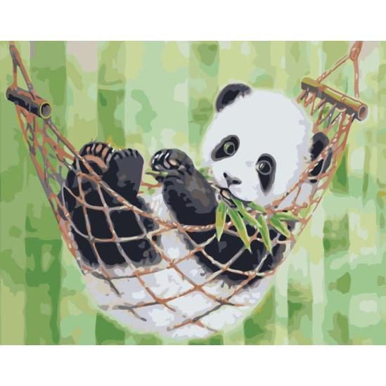 Pihenő panda - számfestő készlet