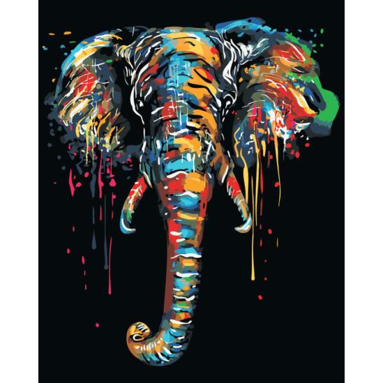 Színes elefántfej - számfestő készlet