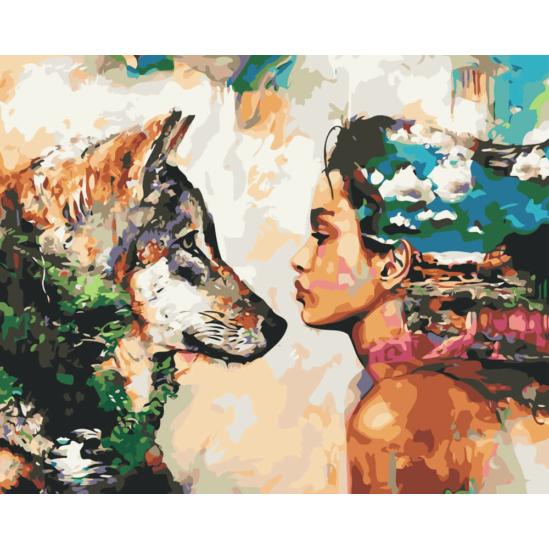 Lány kutyával - számfestő készlet