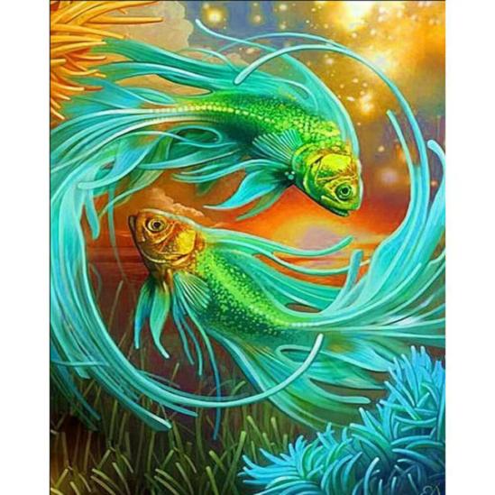 Sziámi harcoshalak - gyémántszemes kirakó