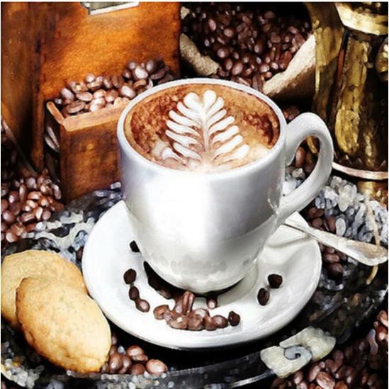 Kávé keksszel - gyémántszemes kirakó