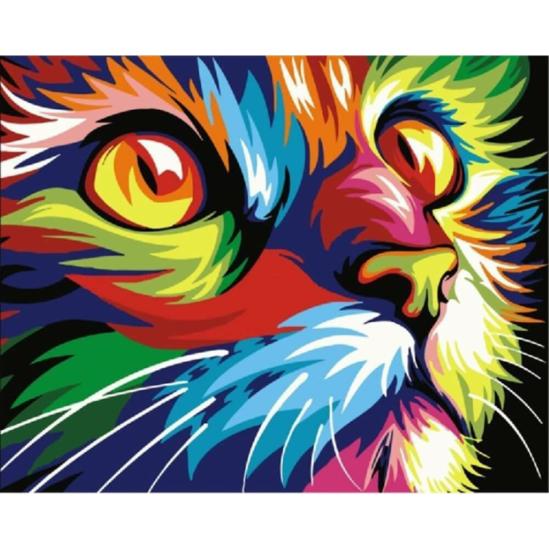 Színes macskafej - gyémántszemes kirakó