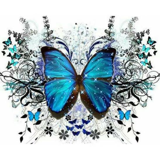 Kék pillangó - gyémántszemes kirakó