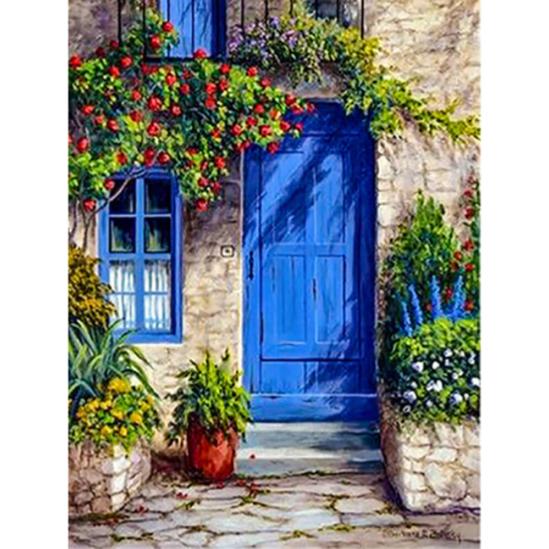 Kék ajtó - gyémántszemes kirakó