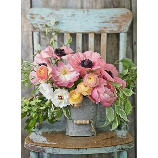 Virágcsokor a széken - gyémántszemes kirakó