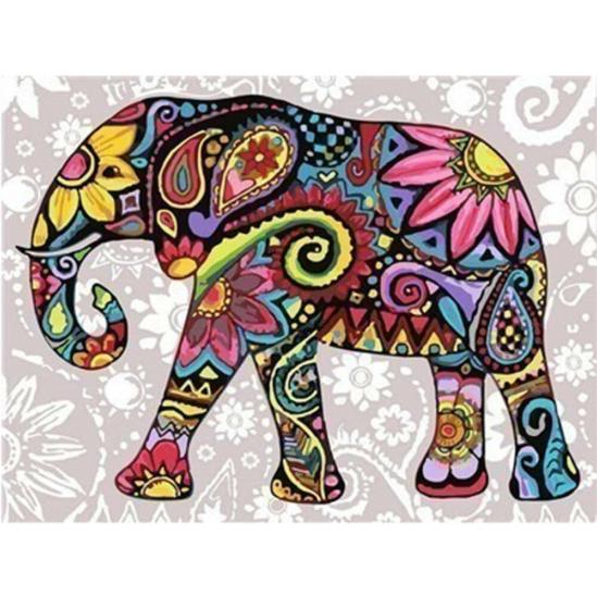 Színes virágmintás elefánt - gyémántszemes kirakó