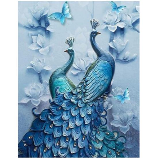 Kék pávapár - gyémántszemes kirakó