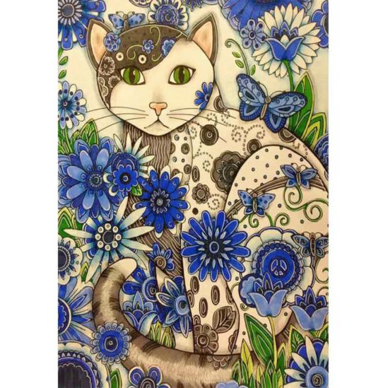 Mozaik macska kék virágokkal - gyémántszemes kirakó