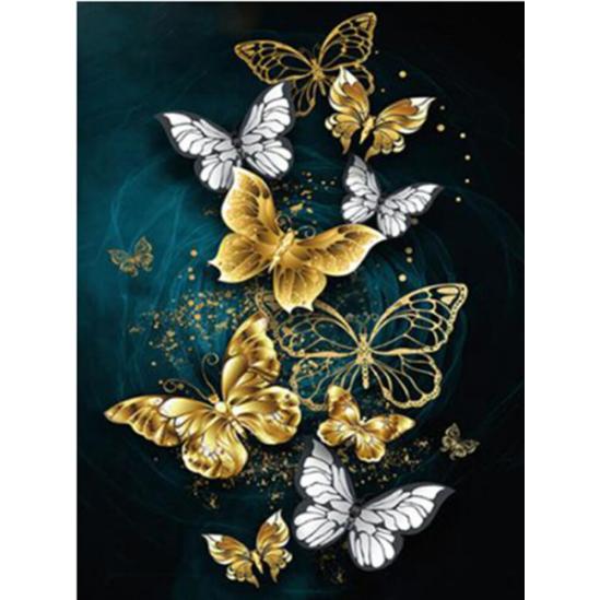 Sárga-fehér pillangóraj - gyémántszemes kirakó