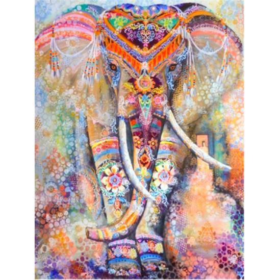 Mozaik színes elefánt - gyémántszemes kirakó