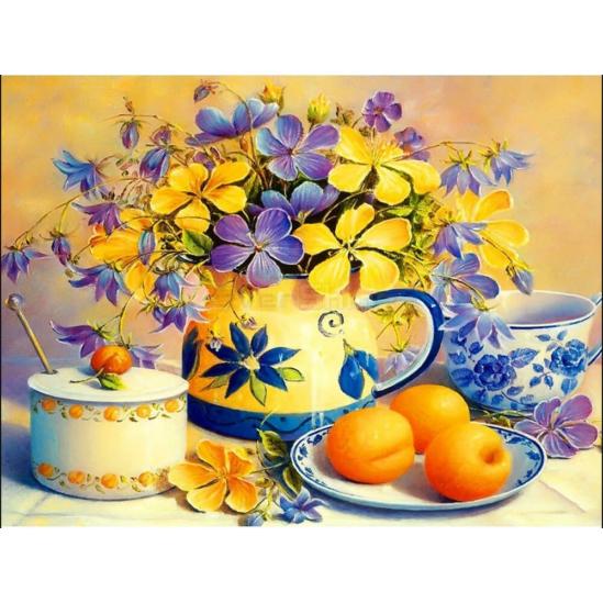 Sárga-kék virágcsokor gyümölcsökkel - gyémántszemes kirakó