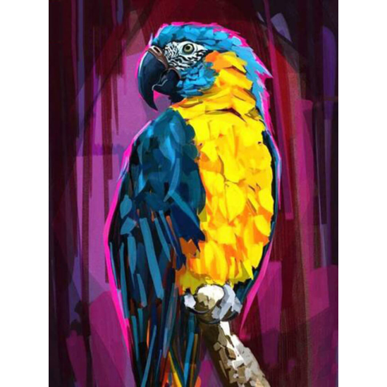 Papagáj lila háttérrel - gyémántszemes kirakó