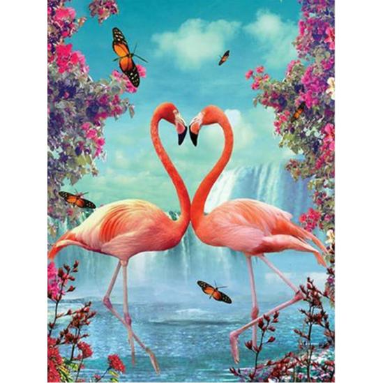 Flamingópár - gyémántszemes kirakó