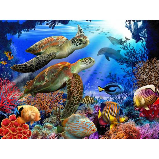 Tengerfenék teknőspárral - gyémántszemes kirakó