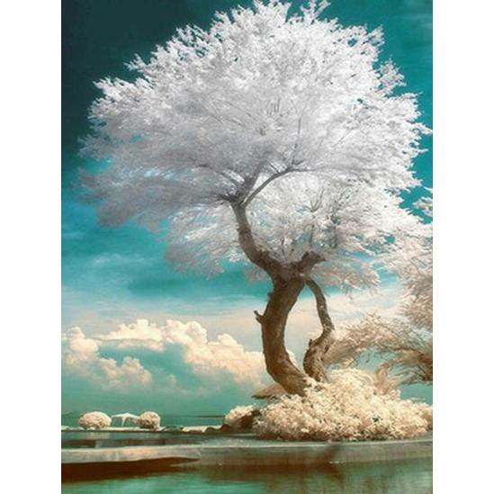 Fehér viráglombú fa - gyémántszemes kirakó