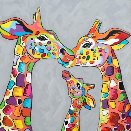 Mozaikmintás zsiráf család - gyémántszemes kirakó