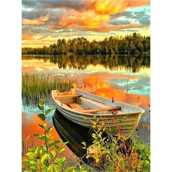 Napnyugta csónakkal - gyémántszemes kirakó