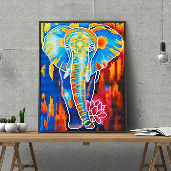 Fénylő elefánt lótusszal - gyémántszemes kirakó