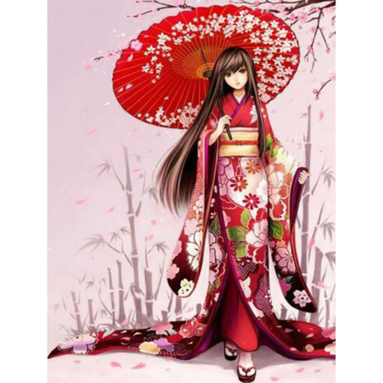 Japán lány - gyémántszemes kirakó