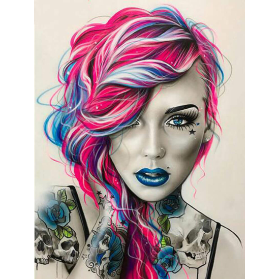 A színes hajú lány - gyémántszemes kirakó