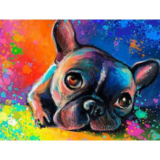 Francia bulldog - gyémántszemes kirakó