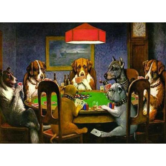 Pókerező kutyák - gyémántszemes kirakó