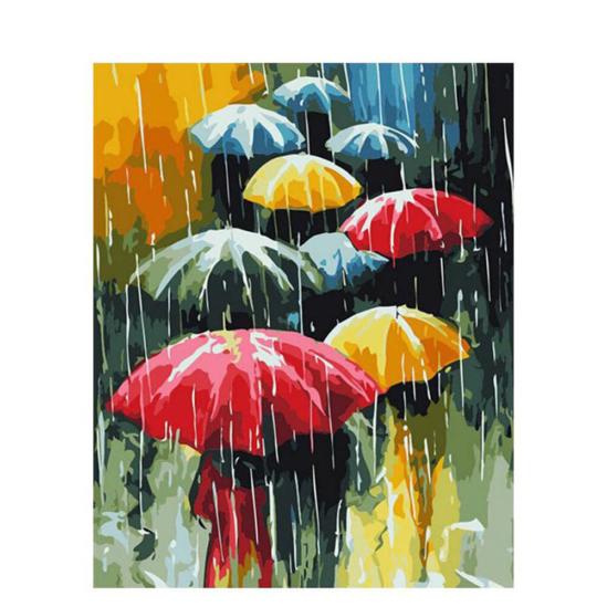 Színes esernyők - számfestő készlet