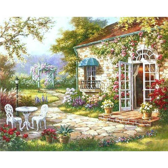 Virágos ház - számfestő készlet