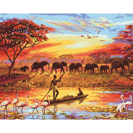 Afrikai életkép - számfestő készlet