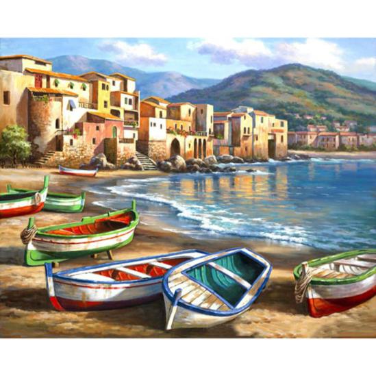 Öböl csónakokkal - számfestő készlet