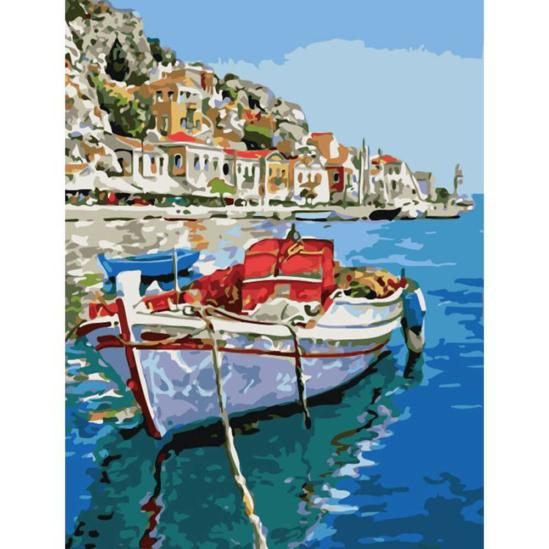 Halászcsónak a kikötőben - számfestő készlet