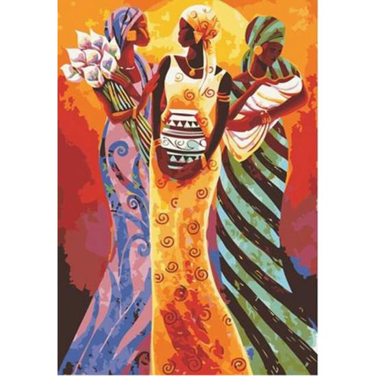 Afrikai nők - számfestő készlet