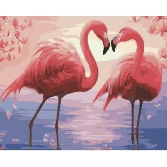Flamingópár - számfestő készlet