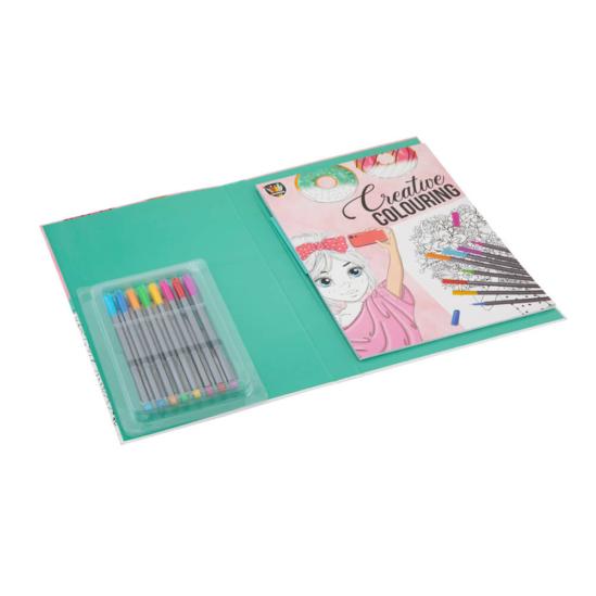 Színezőkönyv filctollkészlettel mappában (rózsaszín)