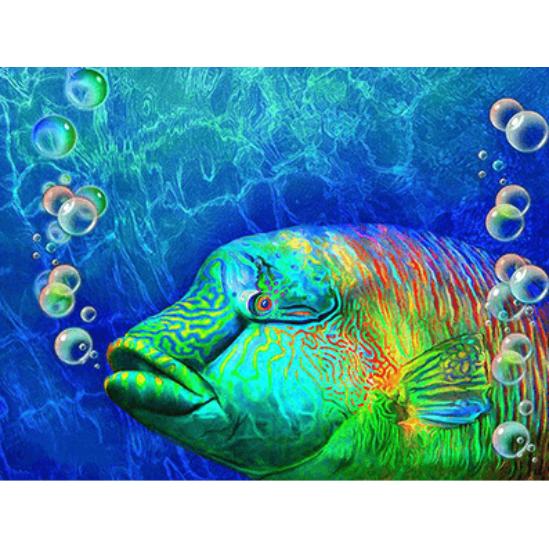 Zöld hal - gyémántszemes kirakó