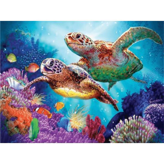 Vizivilág - teknősökkel - gyémántszemes kirakó