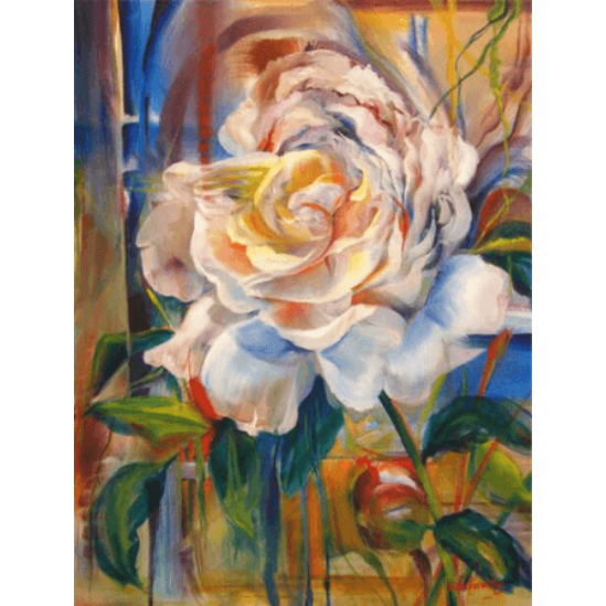 Fehér rózsa - gyémántszemes kirakó