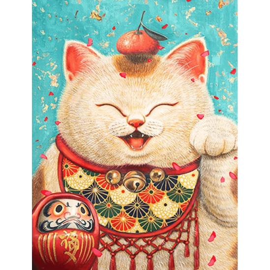 Szerencsehozó, integető macska - gyémántszemes kirakó