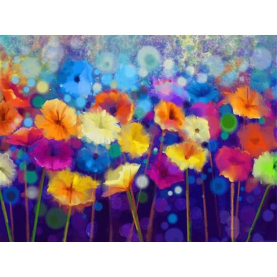 Színes virágmező - gyémántszemes kirakó