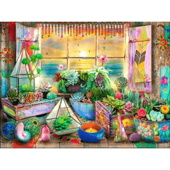 Kaktuszok az ablakban - gyémántszemes kirakó