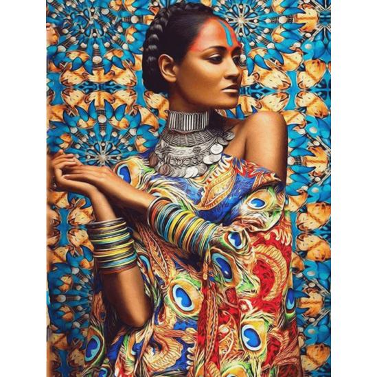 Indiai nő - gyémántszemes kirakó
