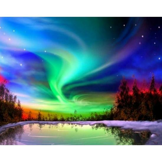 Északi fény - gyémántszemes kirakó